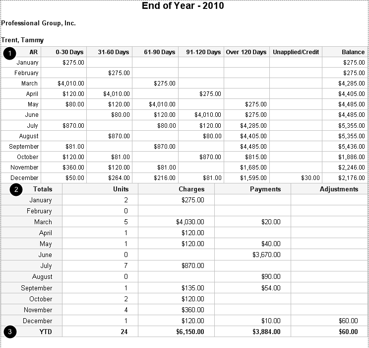 Example of End of Year report by date of service by Provider