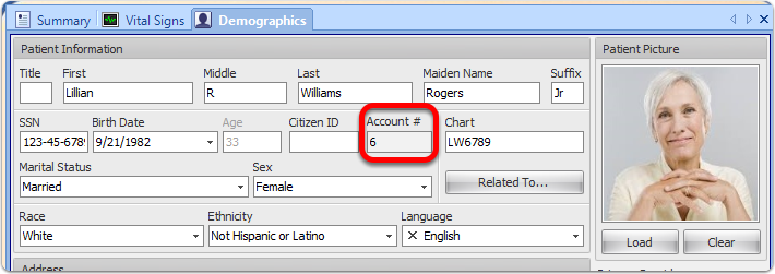 Display Account Number in General Demographics