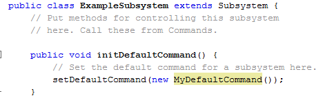 Setting the default command