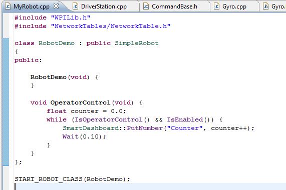 Minimal C++ robot program