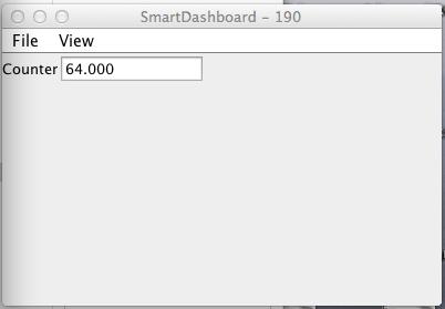 SmartDashboard output for the sample program