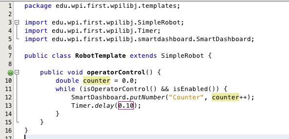 Minimal Java robot program