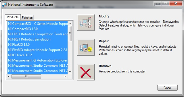 Select Components to Uninstall
