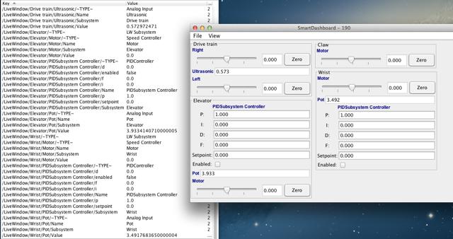 LiveWindow data values