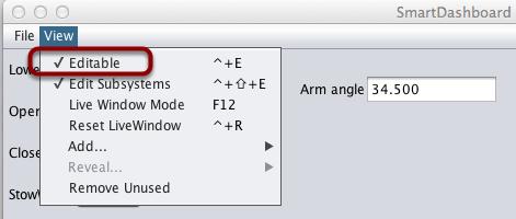 Setting the SmartDashboard display into editing mode