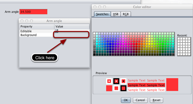 Editing the widgets background color