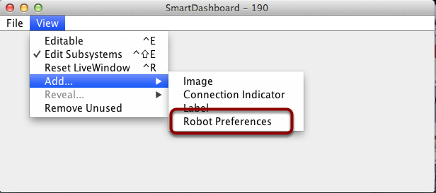 Displaying the Preferences widget in SmartDashboard