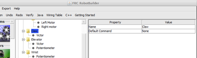 RobotBuilder representation of the Claw subsystem