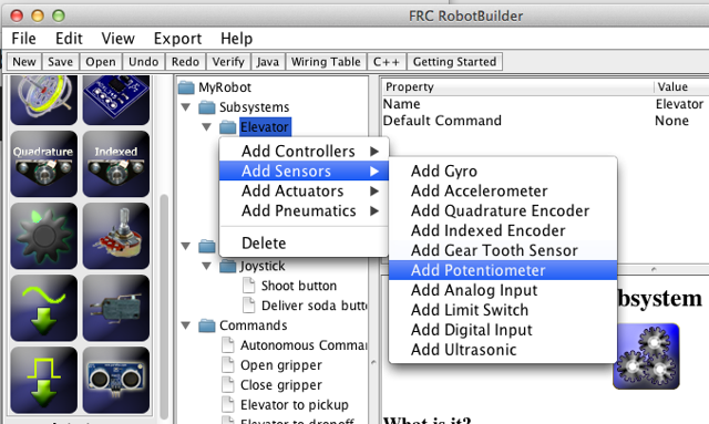 Adding components using the right-click context menu