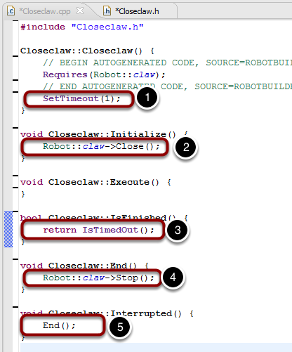 Generated Closeclaw class generated in Closeclaw.cpp