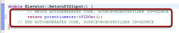 The autogenerated code to return the PID input values