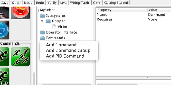 Creating commands using the context menu