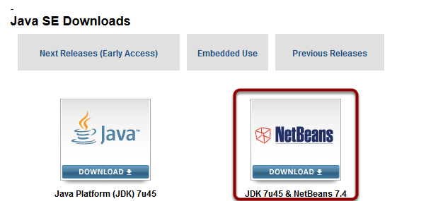 Installing the Java / NetBeans Cobundle (installing Java and NetBeans in one step)