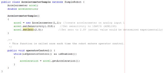Analog Accelerometer code example