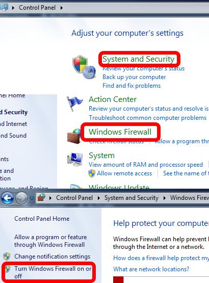 Disabling Windows Firewall