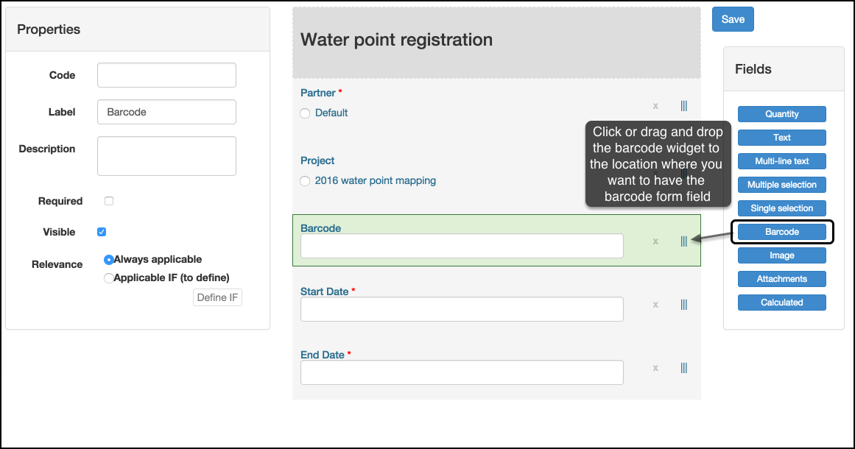 Add a barcode form field to your form