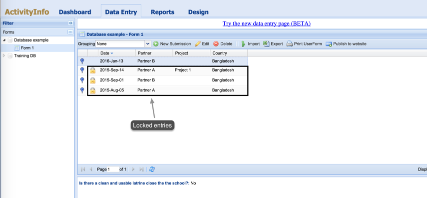 How to see if an entry is locked in Data Entry