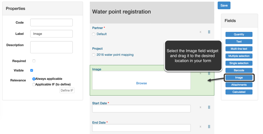 Add an image field to a form