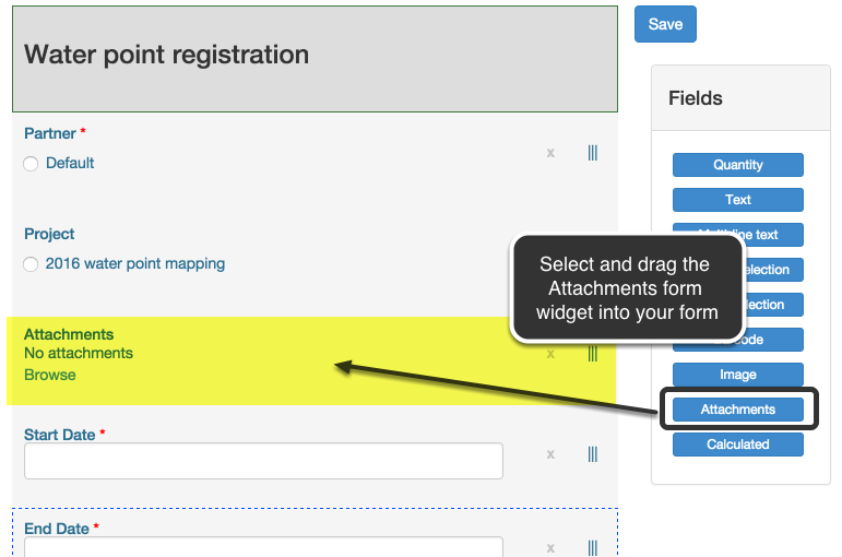 1. Select and drag the attachment field widget into your form
