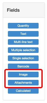 New fields to add images and attachments to forms