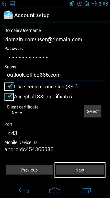 Enter Exchange Server Information