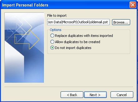 Import Outlook Data File