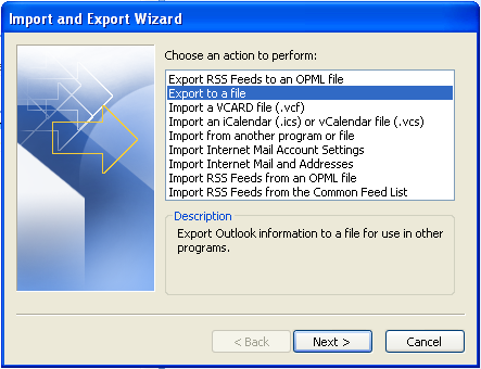 Import and Export Wizard