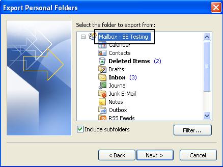 Export Personal Folders