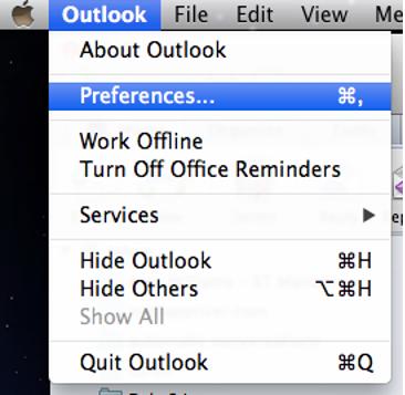 Outlook Menu