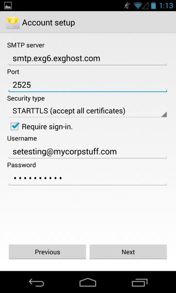 Enter Outgoing Server Information