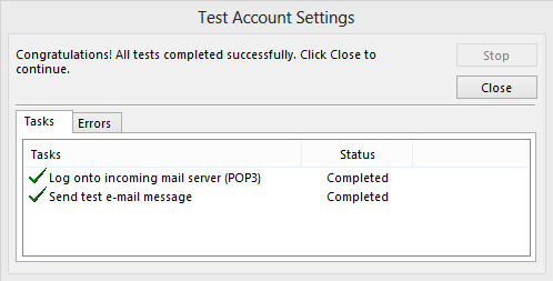 Test Account Settings