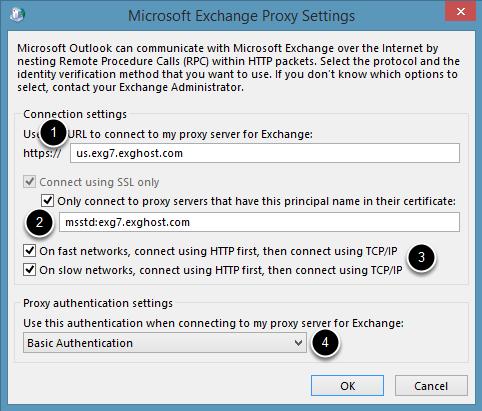 Exchange Proxy Settings