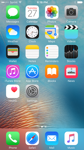 1. From the Home screen tap Settings.