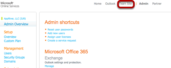 to log into sharepoint from the office 365 portal go to httpportalmicrosoftonlinecom once logged in click the team site link at the top