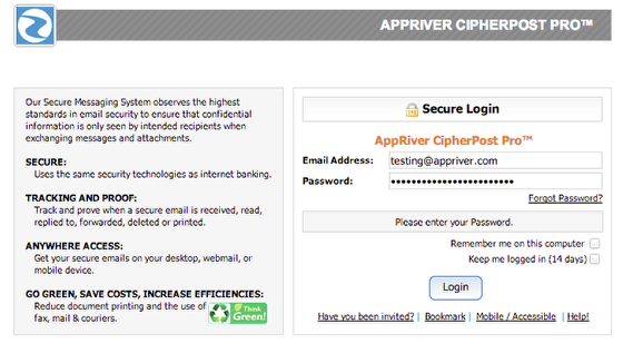 Login to the Secure-Messaging Portal