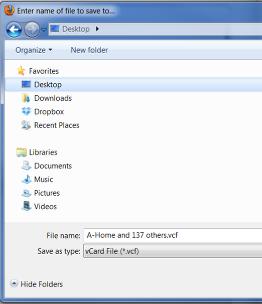 4. Saving the vCard file