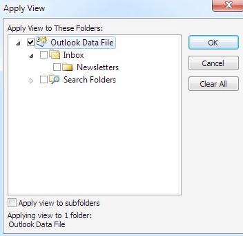 Apply view to subfolders