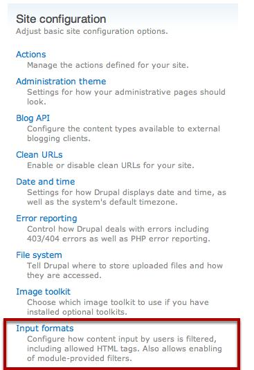 Edit Input Formats