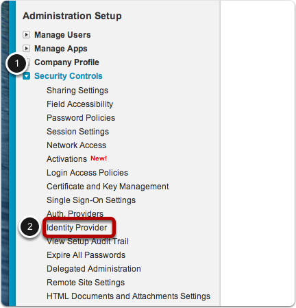 Select Security Controls > Identity Provider