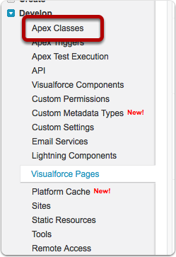 Load the Apex Classes page
