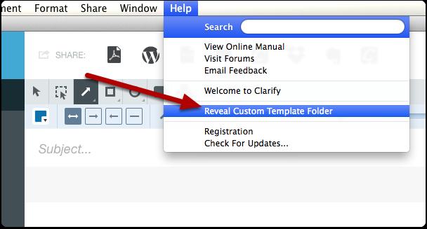 Reveal the custom template folder
