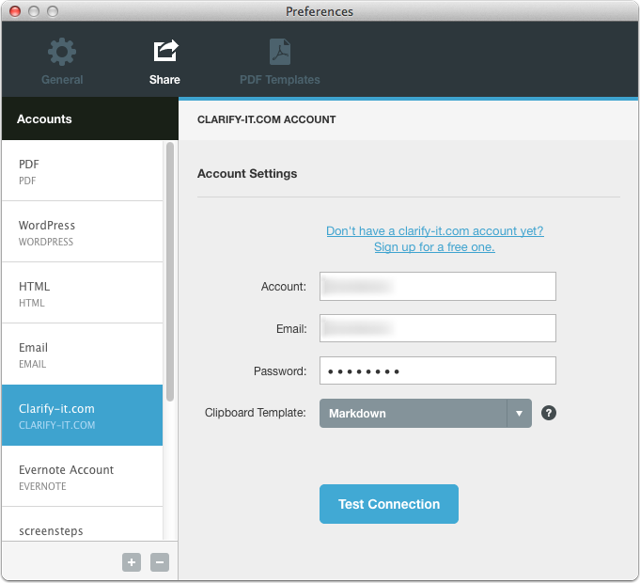 Configure your Sharing account