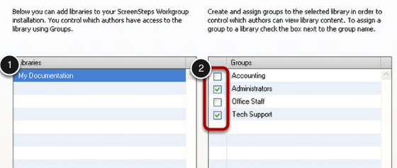 Associating Groups with Libraries