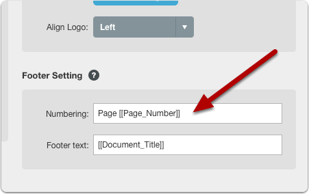 Footer Numbering Field