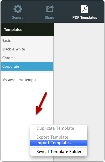 Importing a Template