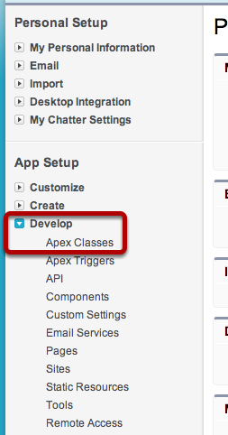 Navigate to Apex Classes Page