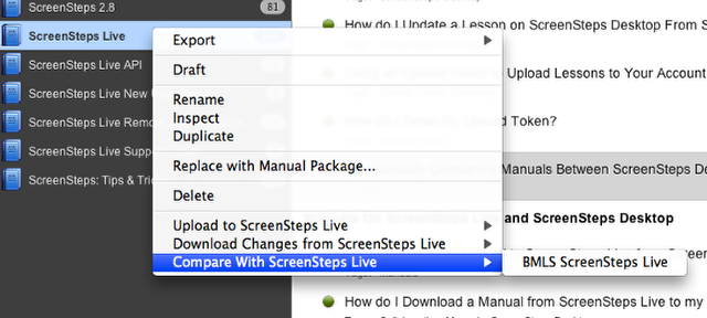 Manually Compare Contents With ScreenSteps Live