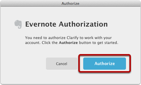 Authorize Clarify to access Evernote