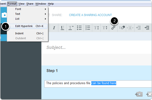 Select text and edit hyperlink