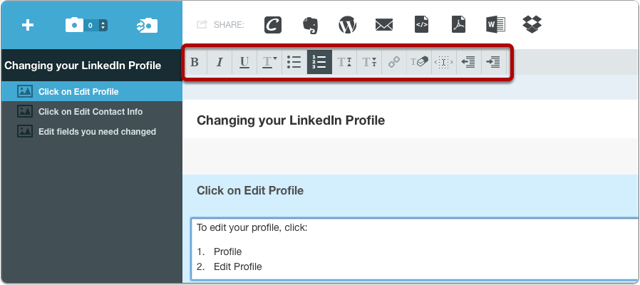Click on the paragraph field and select format options